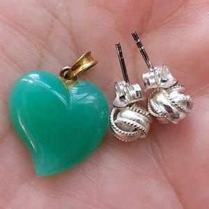 Gorgeous Genuine Heart Jade Pendant 14k gold loop